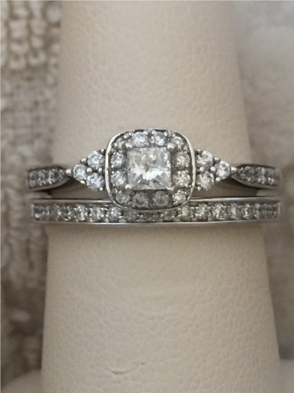 Engagement Ring - Lady's White 14 Karat Engagement Ring With 0.50Tw Various Shapes Diamonds