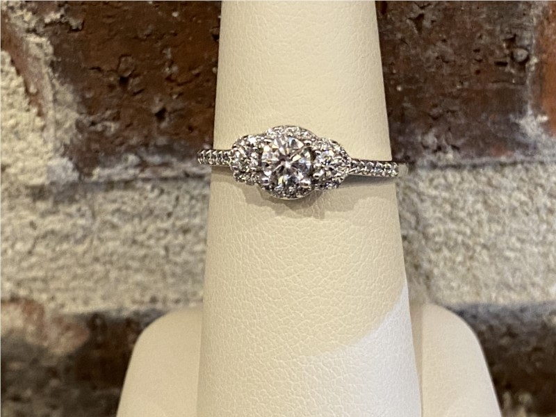 Engagement Ring - Lady's White 14 Karat Engagement Ring With One 0.32Ct Round Diamond And 0.32Tw Round Diamonds
