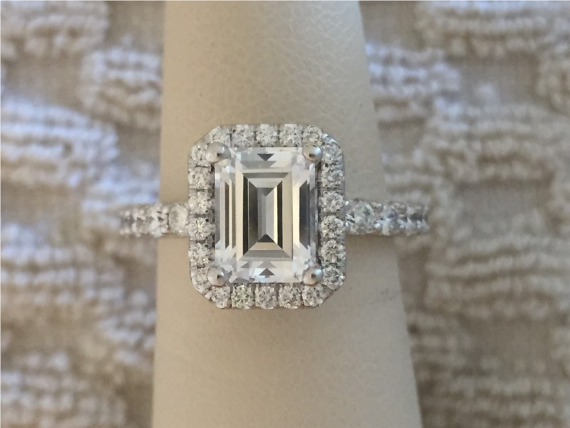 Engagement Ring - White 14 Karat Ring With One 1.41Ct Emerald J Si1 Diamond GIA certified # 2257798722 And 1.15Tw Round G Si1 Diamonds one 1.41ct Emerald J SI1 Diamond 1.15tw Round G SI1 Diamonds