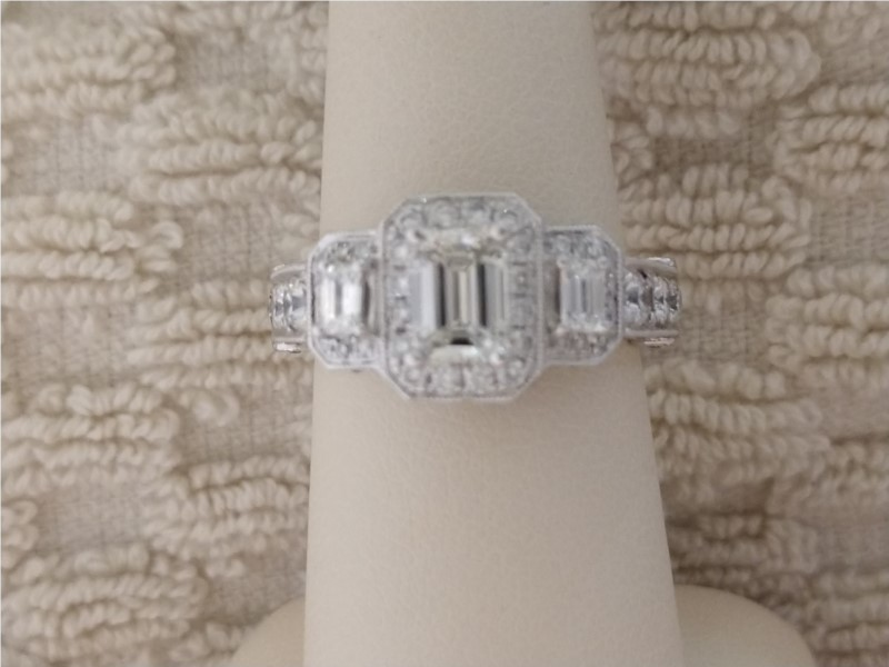 Engagement Ring - Lady's White 14 Karat Engagement Ring With 2.00Tw Various Shapes H/I Si1 Diamonds