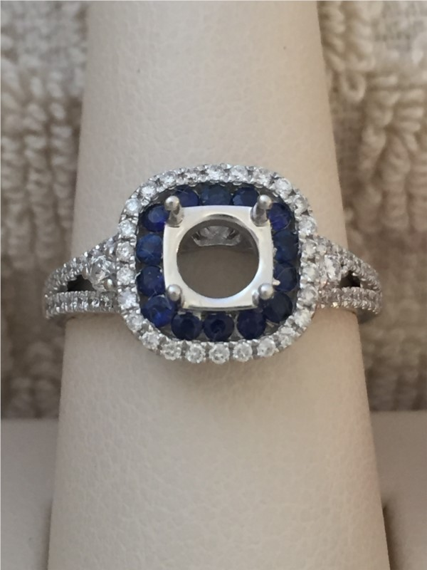 Ring - White 14 Karat Ring With 0.42Tw Round Diamonds And 0.32Tw Round Sapphires