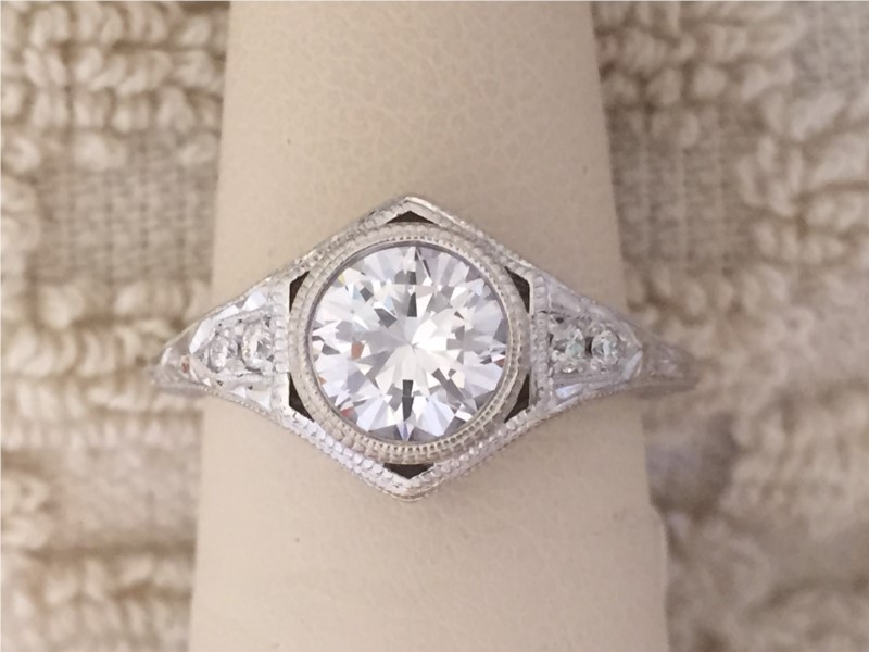 Ring - 14 Karat Semi Mount for 1 ct With 0.06Tw Round Diamonds CZ center