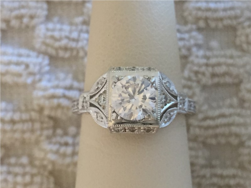 Ring - The Sumner CZ center 14 K white gold semi mount with .20 carats diamonds