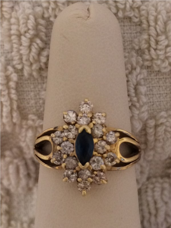 Fashion Ring - Lady's Yellow 14 Karat Sapphire and Diamond Ring