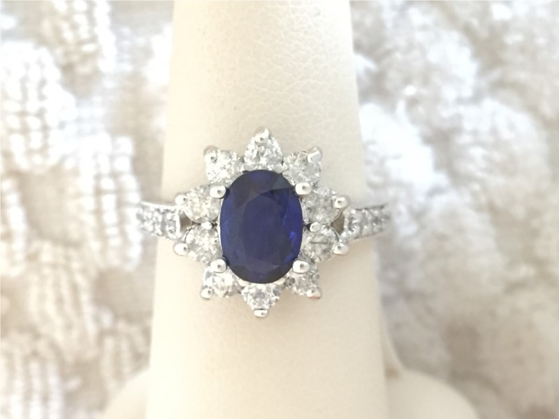 Fashion Ring - Lady's White 14 Karat Fashion Ring With One 2.00Ct Oval Sapphire And 1.00Tw Round Diamonds