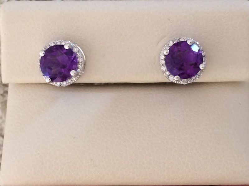 Earrings - Lady's White 14 Karat Amethyst Earrings
