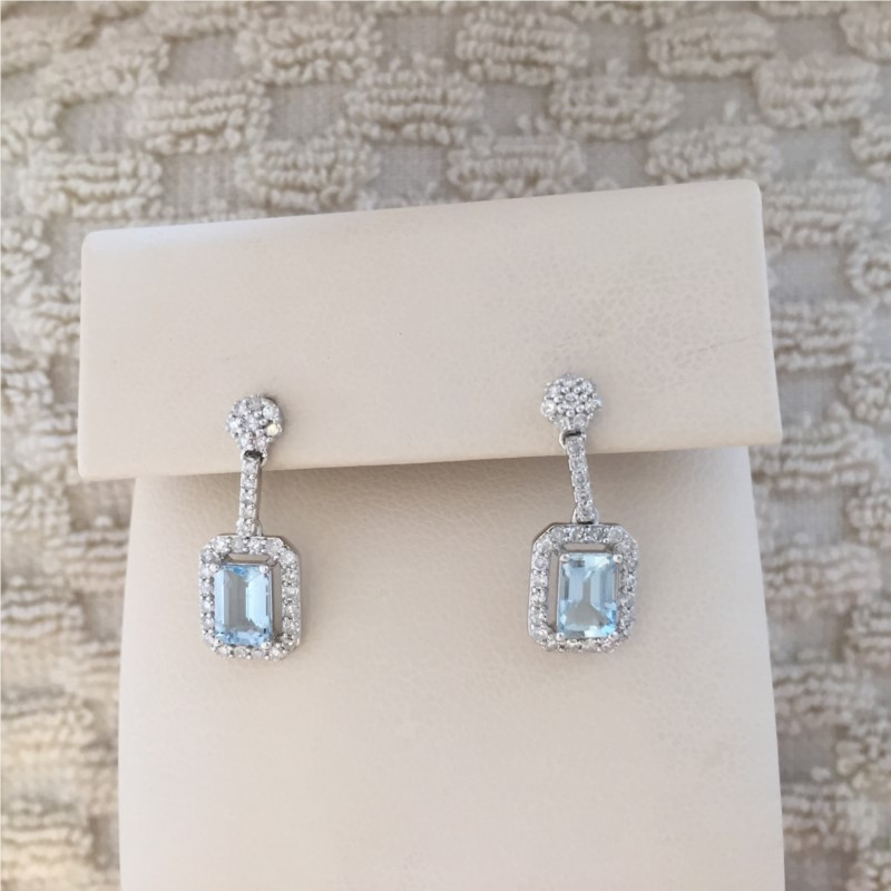 Earrings - Lady's White 14 Karat Earrings With 2=4.35Tw Emerald Blue Topazs And 0.27Tw Round Diamonds