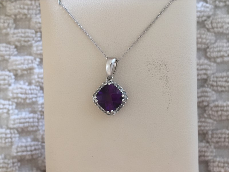 Pendants - Lady's White 14 Karat Pendants With One 1.30Ct Square Cushion Amethyst And 0.12Tw Round Diamonds