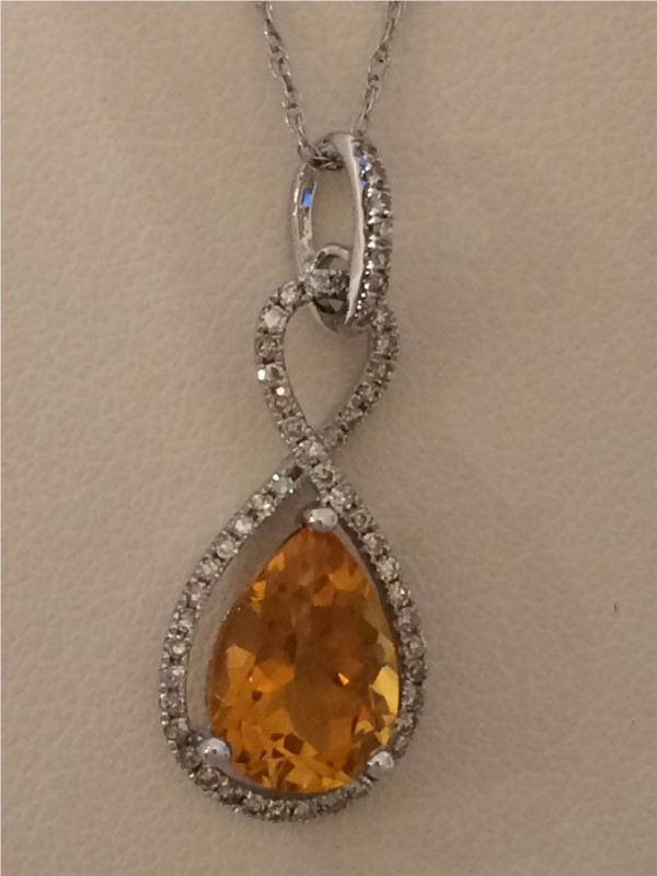 Necklace - Lady's White 14 Karat Necklace With One 1.80Ct Pear Citrine And 0.25Tw Round Diamonds