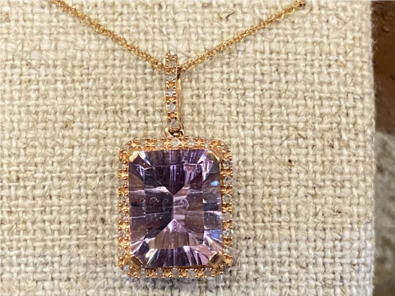 Necklace - Lady's Rosé 10 Karat Necklace With One 3.00Ct Emerald Amethyst And 0.14Tw Round Diamonds
