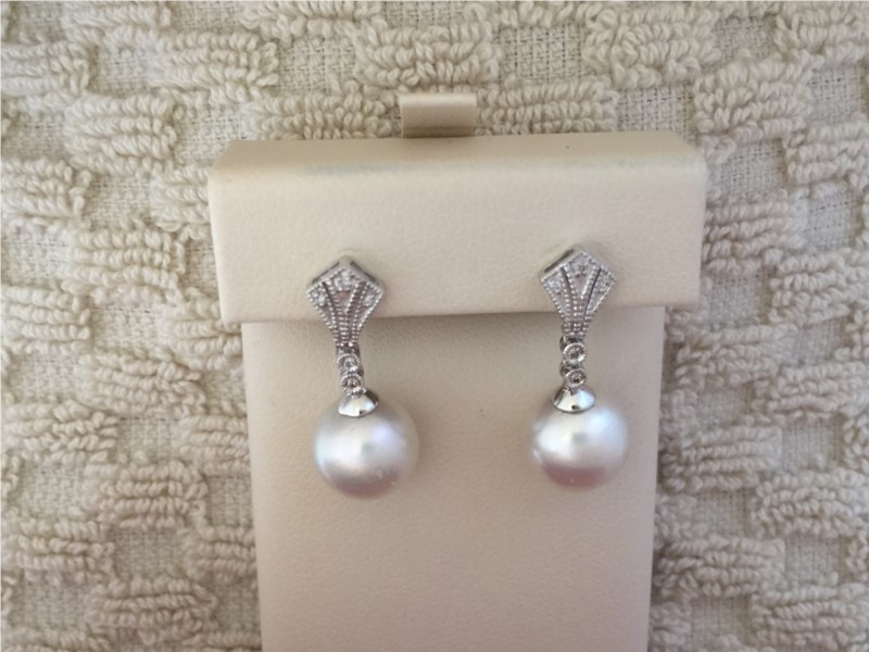 Earrings - Lady's White 14 Karat Earrings With 2=10.50Mm Round Pearls And 0.06Tw Round Diamonds