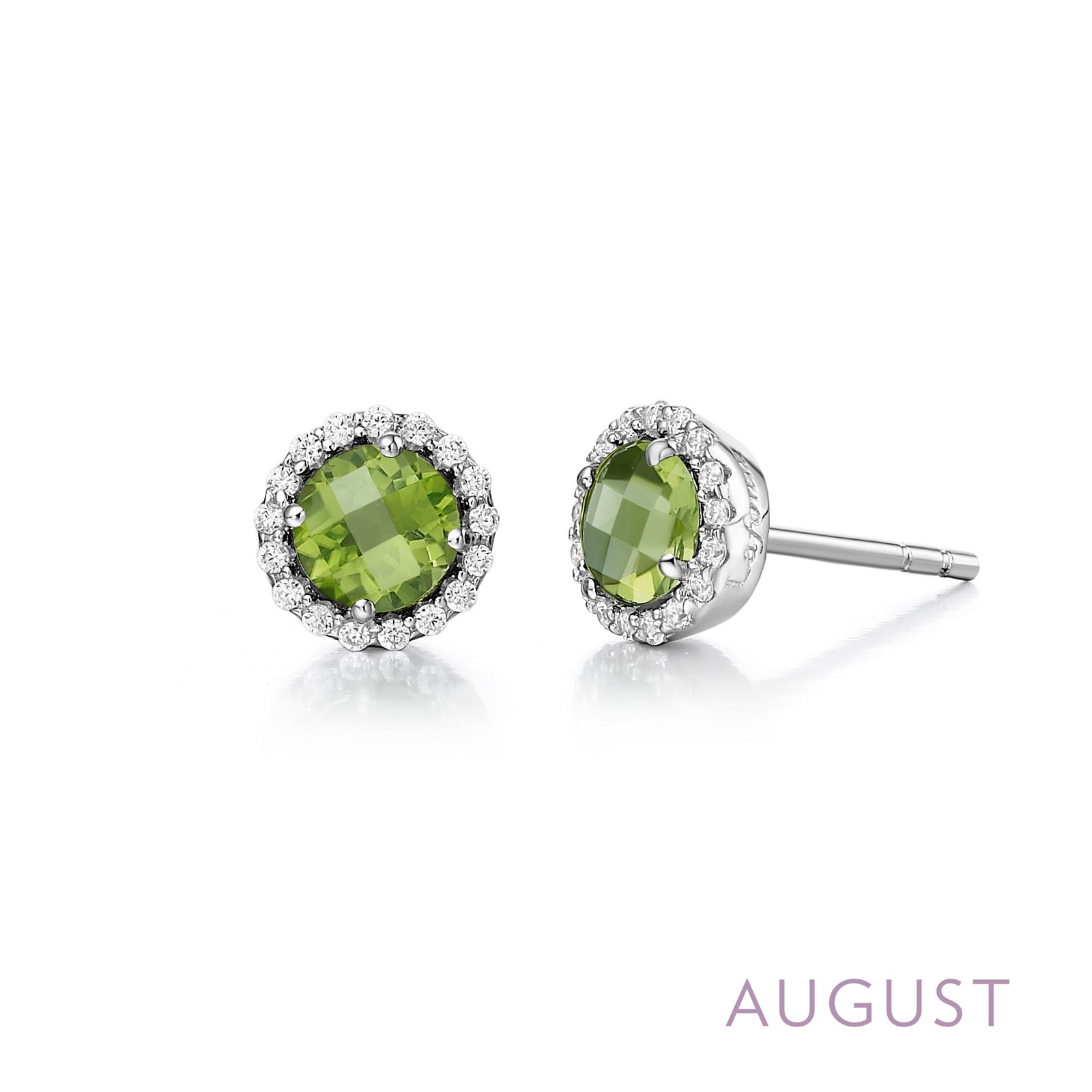 LaFonn Earrings - ER PERIDOT/CL S.S. PT SIMULATED DIAMOND 0.34 CTTW PER RD:5.00MM ( SET: BR001PDP, BN001PDP18 )