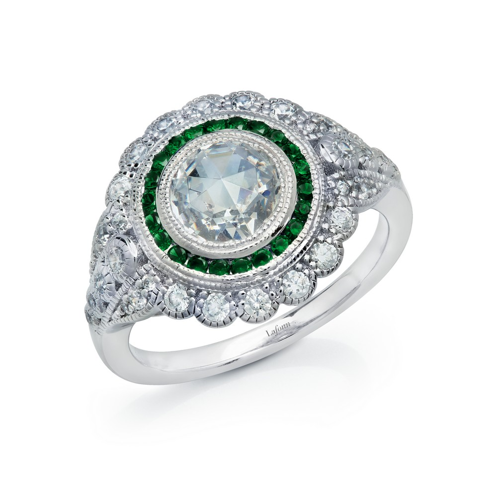 LaFonn Rings - RG CL/EMERALD S.S. PT  1.98 CTTW ROUND HERITAGE RING #10