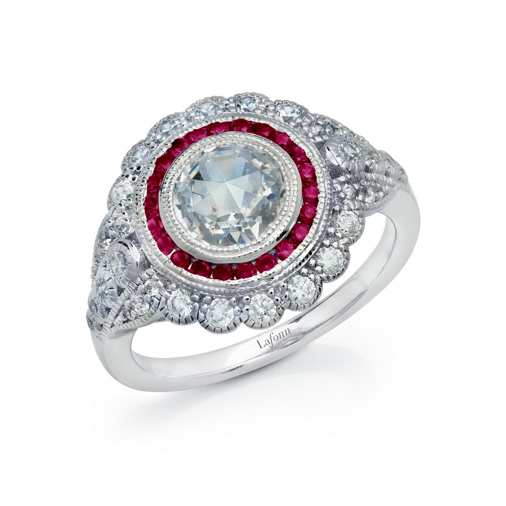 LaFonn Rings - RG CL/RUBY S.S. PT  1.98 CTTW ROUNDHERITAGE RING #7