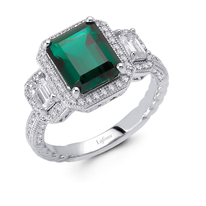 LaFonn Rings - RG CL/EMERALD S.S. PT #8 4.37 CTTW 3 EMERALD CUT STONE