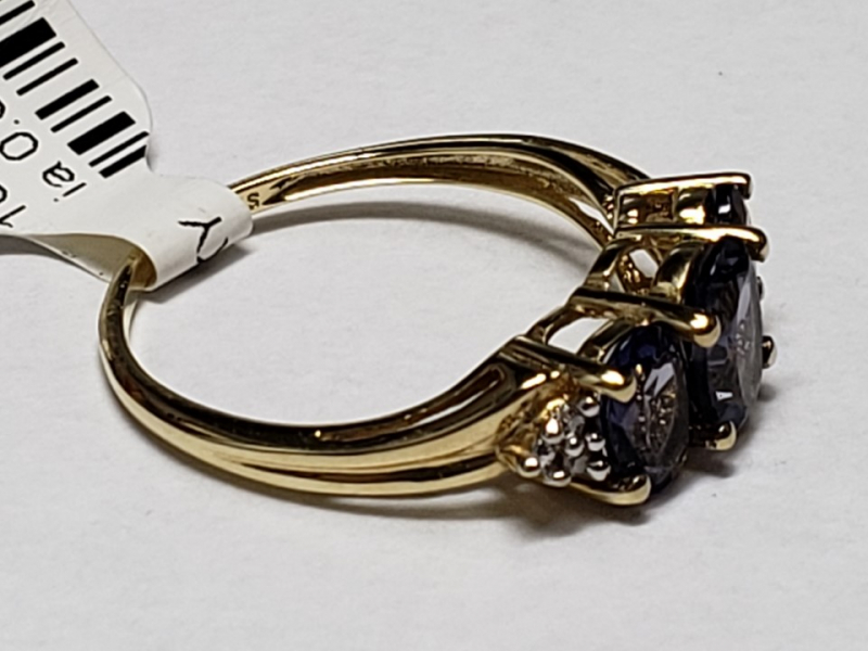 Estate Jewelry - Ladies Iolite and Diamond Fashion Ring - image #2