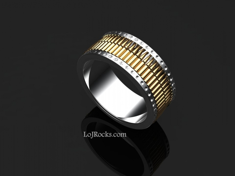 Gun Bullet Ring in Fine Silver and 14kt Yellow Gold - Bullet Ring, Gold