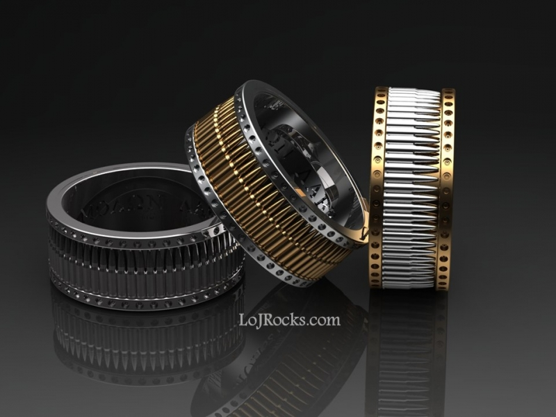 Bullet Ring for the Gun Enthusiast in gold and silver Bullet Ring, Gold