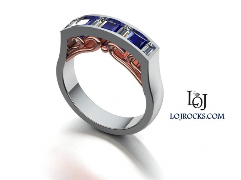 Sapphire, Diamond, 14kt White & Rose Gold Ring - Sapphire and Diamond Ring