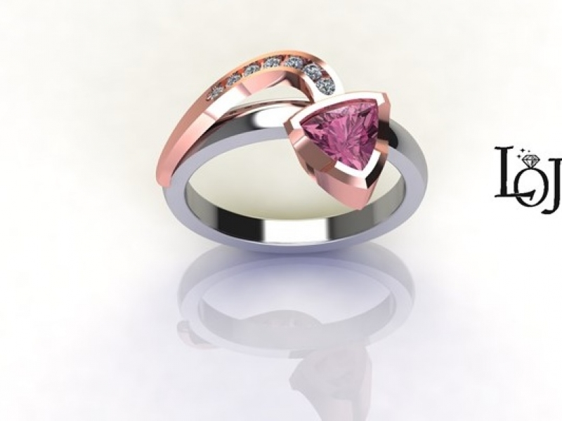 Rose Gold Ring with Pink Gemstone (Rubelite Tourmaline) and multiple Diamonds with Arrow design.