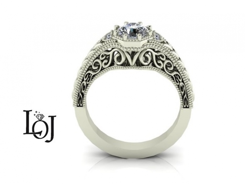 Antique Engagement Ring look with an old miners cut diamond and filigree