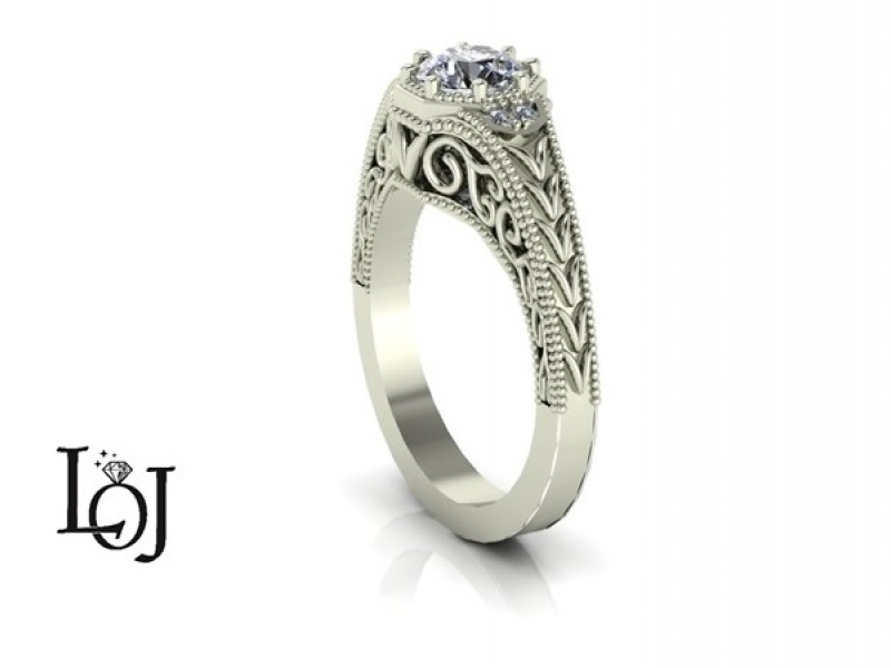 Engagement Ring with Filigree and Old Mine Cut Diamond