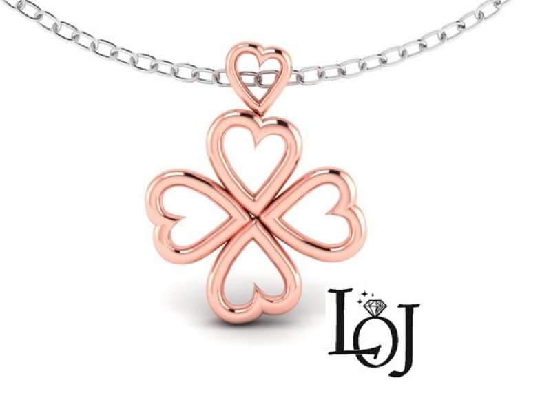 Rose Gold Pendant with Hearts shaped into a 4 Leaf Clover