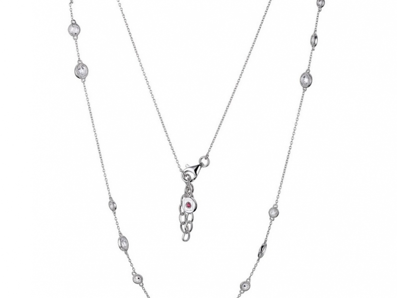 Sparkling CZ 17 Stone Sterling Silver Necklace by Elle called