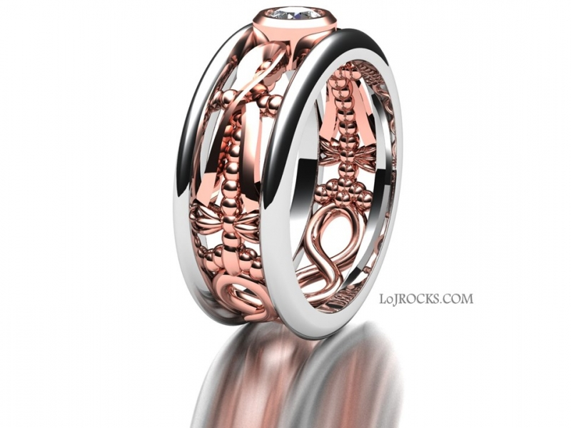 Rose Gold Engagement Ring with Ribbons and Infinity Symbols