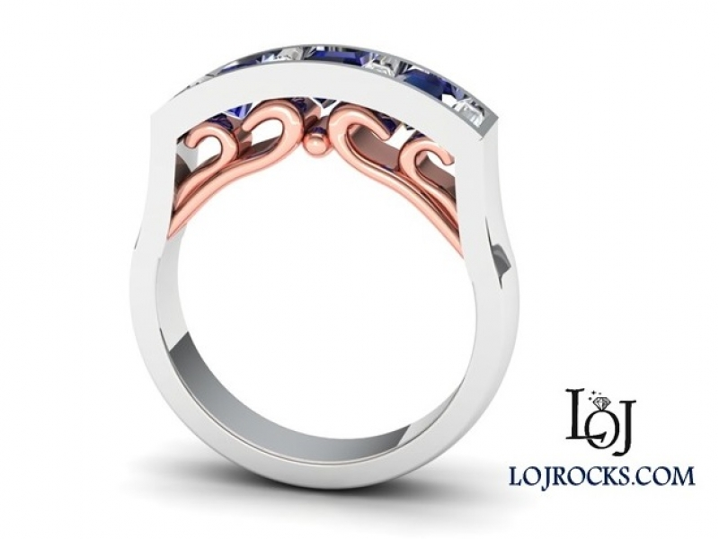 14kt White and Rose Gold with Sapphires and Diamonds Ring Sapphire and Diamond Ring