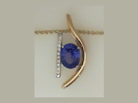 Tanzanite, Diamond, and Gold Pendant