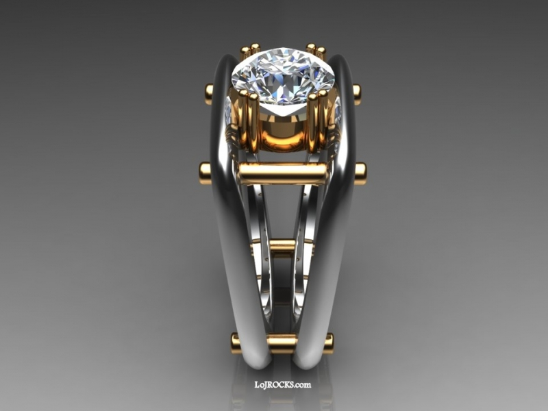 Diamond Ring with 2.99 carat diamond, modern, functional, edgy