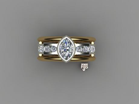 Marquise cut Diamond Ring, 14kt Yellow & White Gold