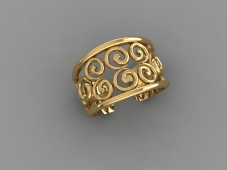 Filigree Ring with Swirls in Yellow Gold