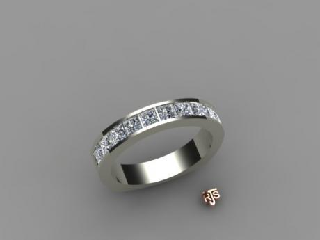 wedding band, 14kt white gold, princess cut diamond