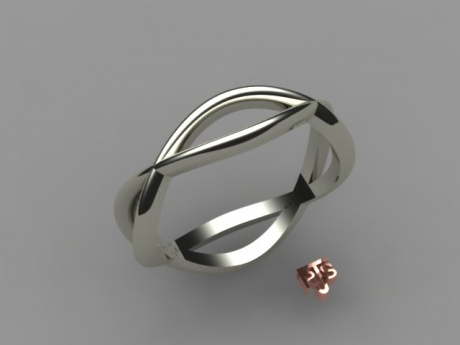 Wedding Ring in white gold, displaying an eternity of kisses