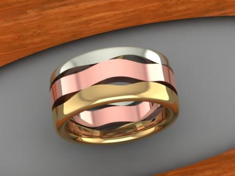 Men's Wedding Band in Yellow, Red, and White Gold Waves