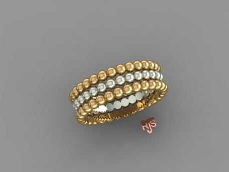 Beaded Ring in 14kt Yellow and White Gold
