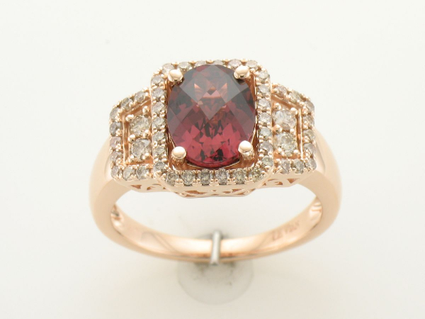 LeVian Garnet & Diamond Ring - 14K Rose Gold 1.90 CT Garnet & 0.48 CTTW Diamond Ring