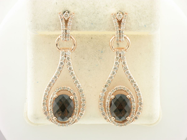 LeVian Chocolate Quartz & Diamond Earrings - 14K Rose Gold 3.50CT Chocolate Quartz and 1.68 CTTW Diamond Earrings