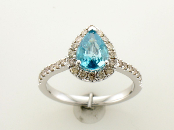 LeVian Blue Zircon & Diamond Ring - 14K White Goold 1.07 CT Blue Zircon and 0.47 CTTWDiamond Ring