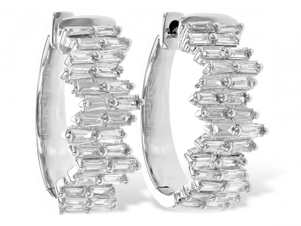 Baguette Diamond Hoop Earrings - 14K White Gold 0.70 CTTW Baguette Diamond Hoop Earrings