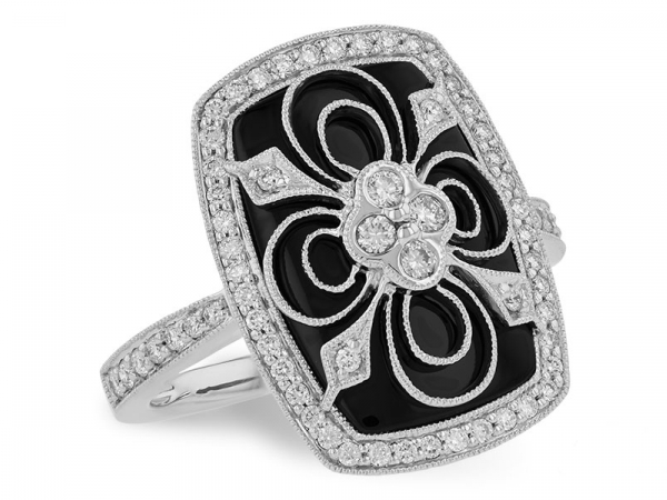Black ONYX & 0.44 CTTW Diamond Ring -