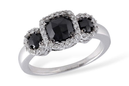 Black Diamond Ring - 14K White Gold 1.25 CTTW Diamond fashion ring