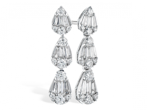 Diamond Earrings - 14K White Gold 0.80 CTTW Diamond dangle earrings