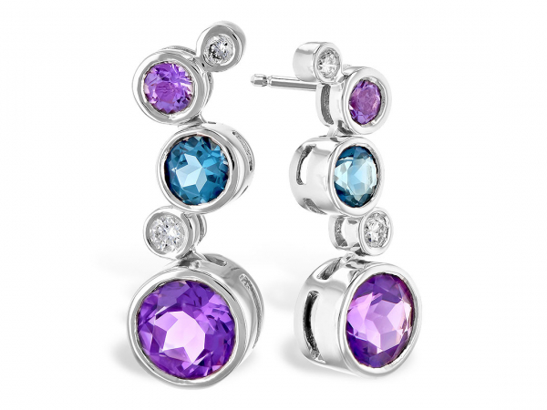 Blue Topaz, Amethyst, & Diamond Earrings - 14K White Gold 0.55 CTTW London Blue Topaz, 1.62 CTTW Amethyst, and 0.13 CTTW Diamond Earrings