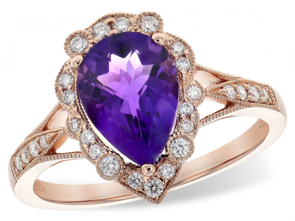 Amethyst & Diamond Ring - 14K Rose Gold Amethyst & 0.22 CTTW Diamond Ring