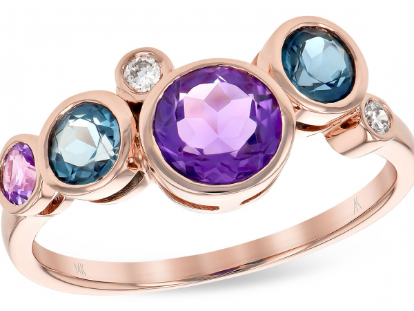 Blue Topaz, Amethyst, & Diamond Ring - 14K Rose Gold London Blue Topaz, Amethyst, & Diamond Ring