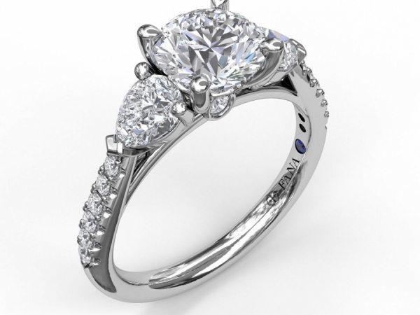 FANA 0.58 CTTW Semi-mount - 14K White Gold  0.58 CTTW engagement ring mounting