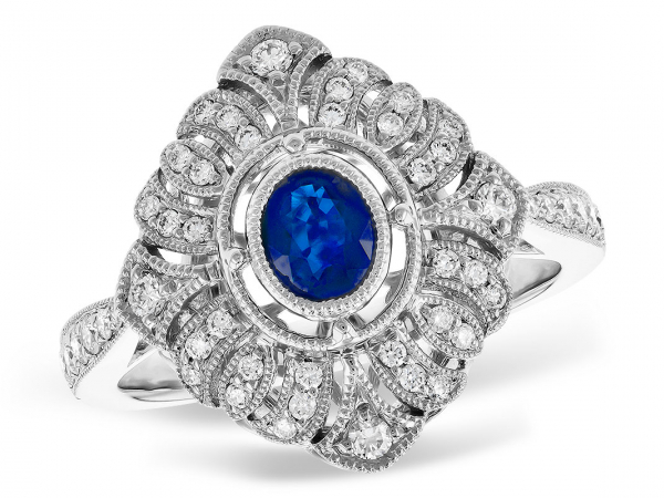 Sapphire & Diamond Ring - 14K White Gold 0.41 CT Blue Sapphire and 0.37 CTTW Diamond Ring